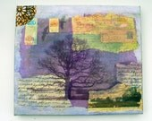 purple mixed media art collage , inspirational, trees, landscape, vintage papers, hand printed