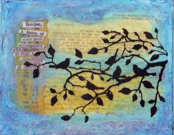 Mixed media, wall art, collage plaque, inspiration, hope, birds