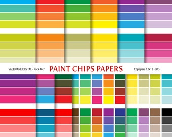 Paint chips digital papers, Moder Digital Paper backgrounds - 12 jpg files 12x12 - INSTANT DOWNLOAD Pack 467
