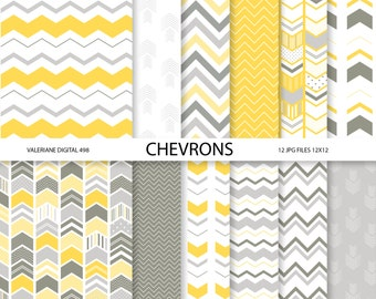 Chevron digital paper pack, Modern digital paper in  yellow and grey - 12 jpg files - INSTANT DOWNLOAD 498
