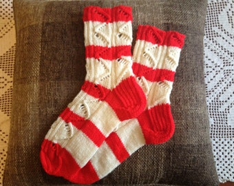 Hand knitted women's socks.Home socks.