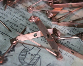 5 Vintage Copper Pin Blanks Findings