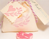Heart and Leaves Hand Carved Rubber Stamp