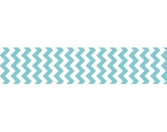 "STORE CLOSING Sale Riley Blake Sew Together Aqua Chevron 7/8"" Grosgrain Ribbon 1 yard"