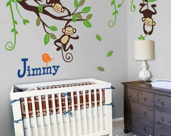Kids Wall Decal, Monkeys on Branch and Vines - Nursery Wall Decal