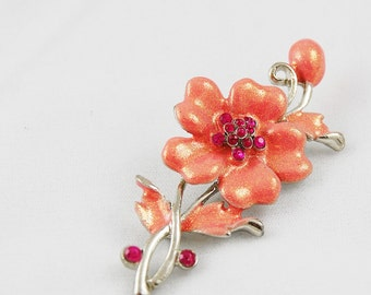 Vintage Pink Iridescent Enamel and Rhinestone Flower Brooch