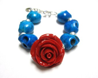 Sugar Skull Bracelet Day Of The Dead Strand Blue Silver Red Rose