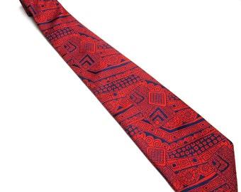 Vintage Beau Brummell Necktie Cream Red Blue Abstract Wide Tie