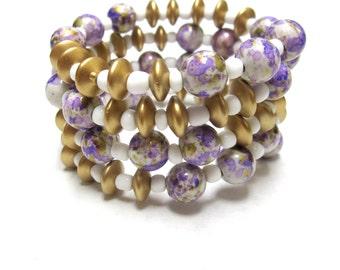 Western Cuff Bracelet Day of the Dead Wood Purple Gold White