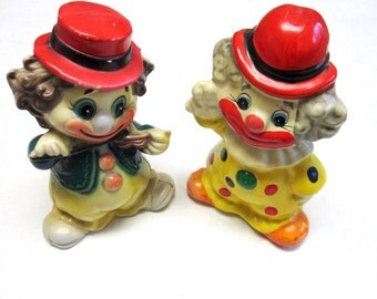 Clown Bank Piggy Set of Two Collectible Chalkware Plastic