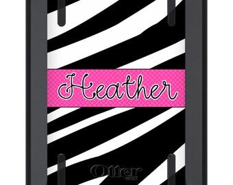 iPad Mini Case OTTERBOX DEFENDER - Hot Pink ZEBRA Polka Dots - Monogrammed iPad Mini 2 3 Case - Custom iPad mini 3 Case - Personalized