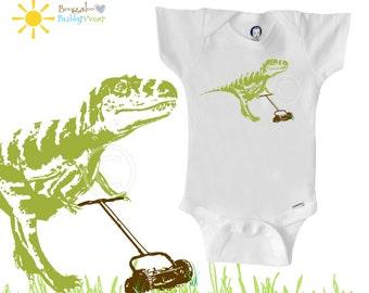 Organic dinosaur onesie bodysuit, T-rex with lawnmower, hipster baby, boy or girl