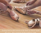 Personalised, customised BALLET SHOES giclee reproduction, bespoke art print by pastel artist Robert Antell. Fits Ikea frames