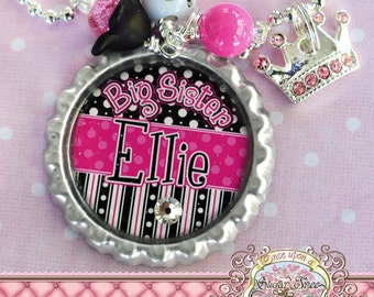 Big SISTER Necklace, Personalized Name Bottle Cap Necklace, Swarovski Crystal Crown Charm, Birthday, Gift, New Sister, Polka Dot