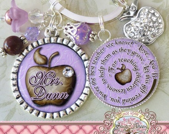 Teacher Personalized Key Chain, Inspirational Quote, Purple, Thank You Gift, Teacher Appreciation, Rhinestone Apple Charm, Damask
