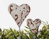 Heart garden art - plant stakes - garden markers - garden decor - heart ornament - ceramic heart - small - white