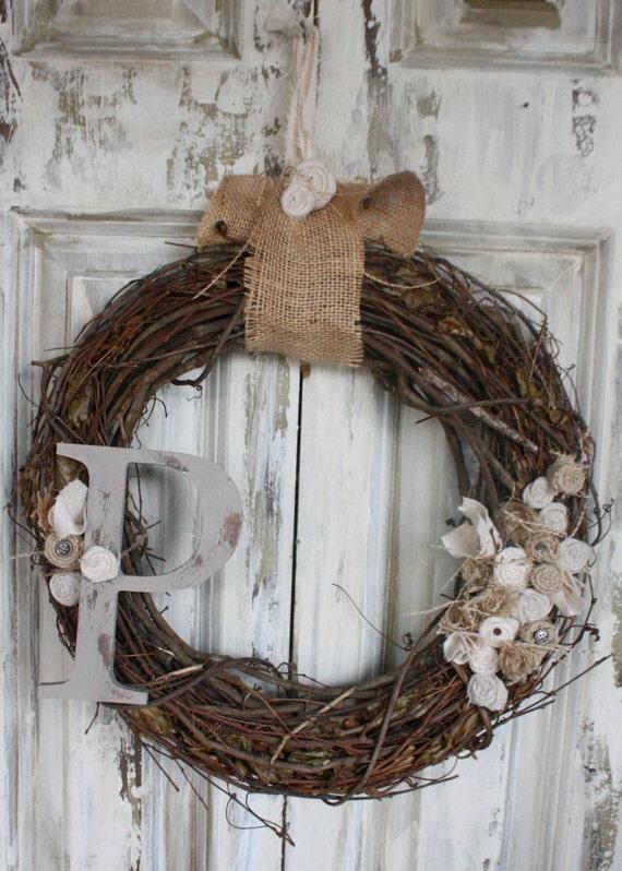 Distressed  Painted  Monogram Wreath Romantic farmstyle Linen and burlap wreath
