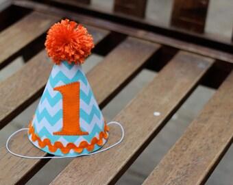 First Birthday HAT Aqua Turquoise Chevron Orange 1st Birthday Outfit Toddler Baby Boy or Girl