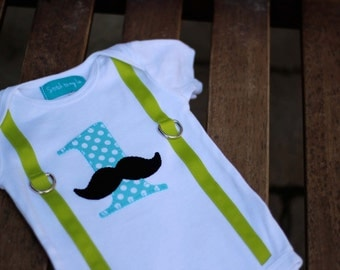 "First Birthday Mustache Shirt Bodysuit Lime Green Aqua Dot Black Baby Boy ""1"" Little Man Mustache Party"