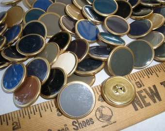 "Colorful Brass Buttons Neutrals - 5 ounces metal shank style size 32L (13/16"" 20mm) gold tone colored inset sewing gray blue cream black"