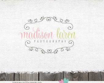 Custom Premade Photography Logo - Hand Drawn Frame Heart Logo Design Name
