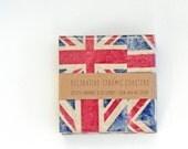 Ceramic Coasters British Flag Union Jack Grungy Version, set of 4