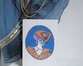 Coquette Bleu , Illustrated Greetings Card