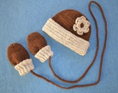 Natural Alpaca Hat and Thumbless Mitten Set for 1-3 Year Old in Shades of Brown with Flower