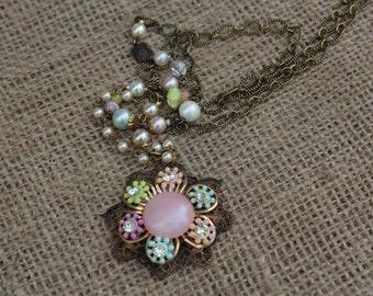 Vintage Pastel Pendant Necklace