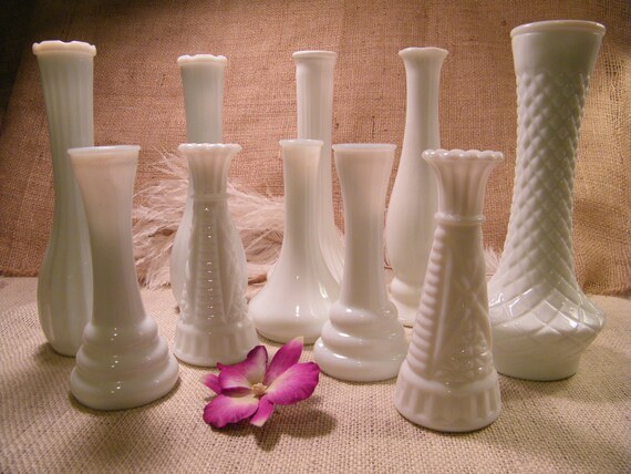 Lot of 10- Vintage Milk Glass Assorted Size Bud Vases-Instant Collection-Vintage Wedding-Table Centerpieces