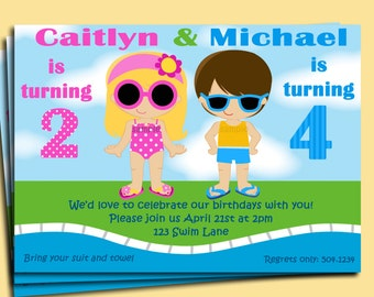 Sibling Pool Party Invitation Printable or Printed with FREE SHIPPING  - You pick boy/girl, hair color/style & skin tone