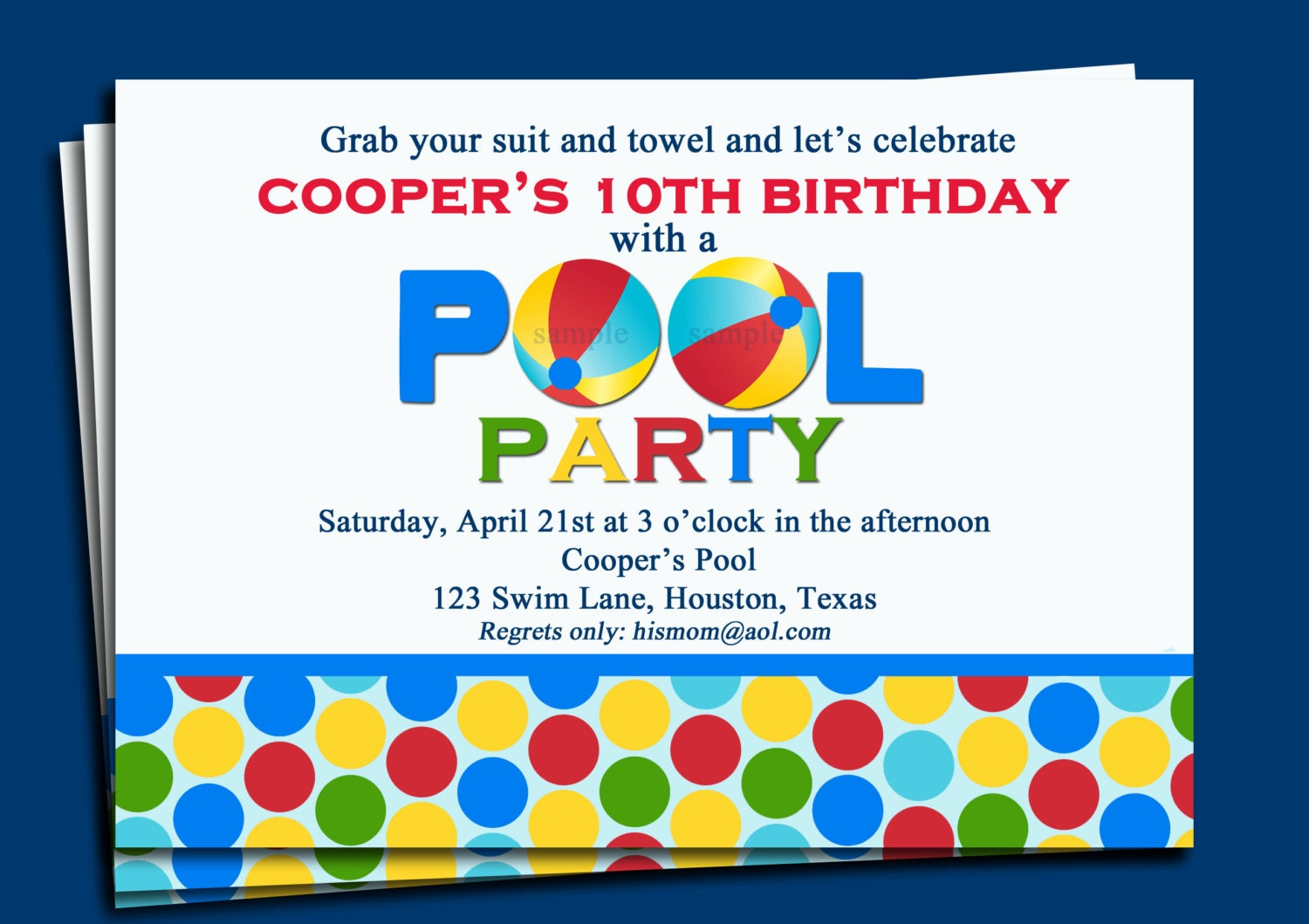 pool party invitation printable or printed with free shipping, invitation samples