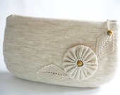 Date Night Clutch, Rustic Wedding Clutch, Ivory Clutch with Flower, Bridesmaid Bag with Crochet, Farmhouse Wedding Purse for Bride
