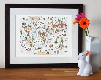 nursery art, world map, animal print, baby nursery, illustration