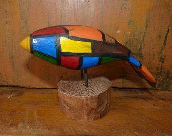 John Lynch, Art Sculpture Wood Stained Glass Look,  Bird with Yellow Beak b3