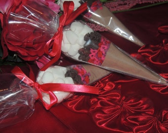Valentine's Day - Hot Chocolate Cocoa Cone Favors - Set of 10