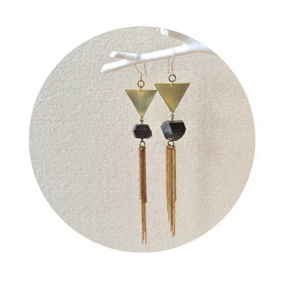 HALF OFF Psychic City Earrings- Geometric Hand Cut Brass with Black Tourmaline and Vintage Chain