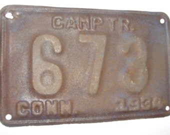 Conn. Camp Trailer Plate 1930s
