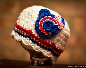 Chicago Cubs Inspired Crocheted Cap (Newborn - Children Size) (Made to Order)