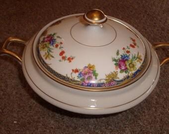 vintage warwick china casserole bowl blue band scrolls floral