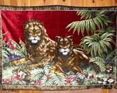 SALE - Vintage - Boho - Velvety - Lion & Lioness - Tapestry - Rug - Large Wall Hanging
