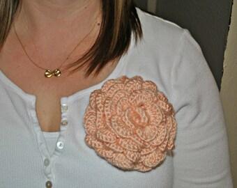 Crochet Peach Rose Brooch Pin Accessories
