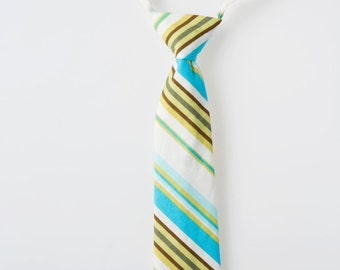 Boys Tie - Blue, Green, and Brown Stripes - Little Boy Necktie