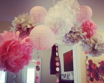7- tissue Pom Poms- & 3 Lanterns Ready to Pop