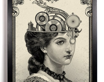 The Steampunk Queen, Home, Kitchen, Nursery, Bath, Dorm, Office Decor, Wedding Gift, Housewarming Gift, Unique Holiday Gift, Wall Poster