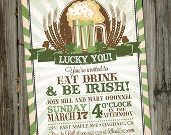 St. Patrick's Day Invitation, Luck of the Irish, St. Patty's Day, Green Beer PRINTABLE Irish Party Invitation, St Patricks Day Invitation