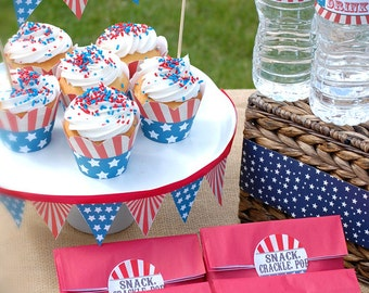 4th of July Party Decorations, 4th of July Party Decor, Fourth of July Party Kit, Fourth of July Decorations, PRINTABLE, Instant Download,