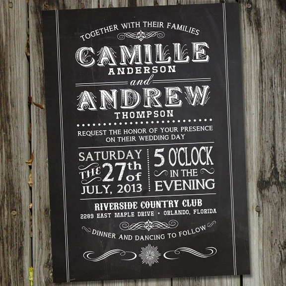 printable chalkboard wedding invitation in vintage retro font. Black Bedroom Furniture Sets. Home Design Ideas