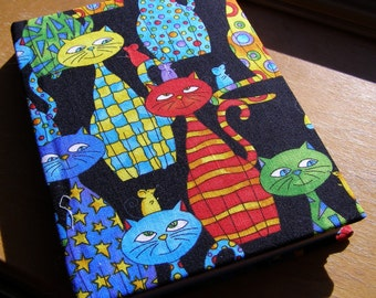 Handmade notebook - A6 notebook - Cats notebook - Hardback notebook - Fabric covered notebook