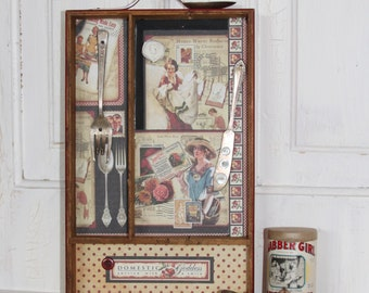 DOMESTIC GODDESS...Vintage Wood Utensil Drawer Tray In Red.. REPURPOSED..Magnet memo board / key keeper..Vintage Mixed Media Shadow Box